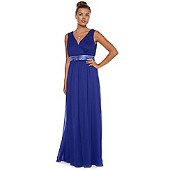Debut - Cobalt blue Grecian-pleated maxi occasion dress
