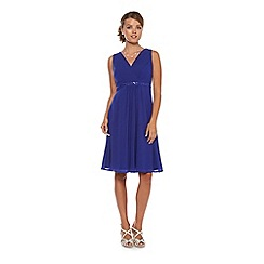 Debut - Cobalt blue jewel-trim midi occasion dress