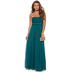 Debut - Bottle green ruched bodice lace maxi dress