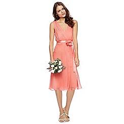 Debut - Peach chiffon waterfall dress