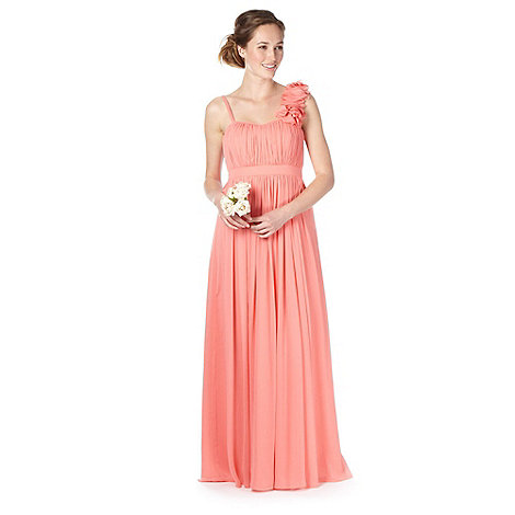Debut - Peach blossom shoulder ruched maxi dress