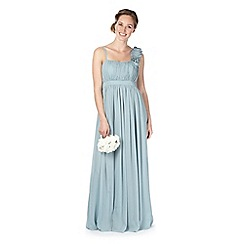 Debut - Pale green blossom shoulder ruched maxi dress