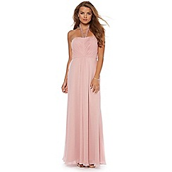 Debut - Pink ruched bodice halter maxi dress