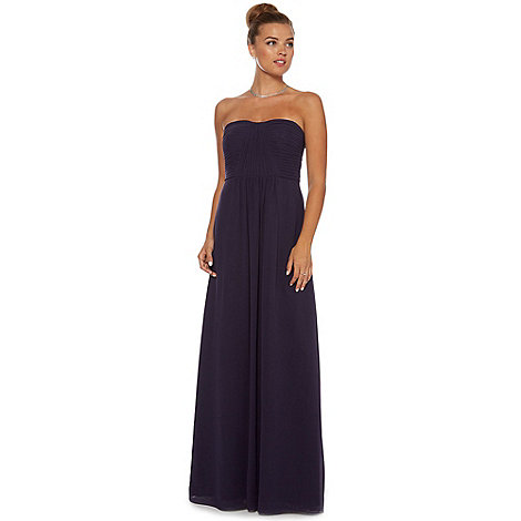 Debut - Ink blue ruched strapless evening dress
