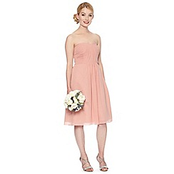 Debut - Peach pleated bandeau occasion dress