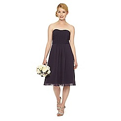Debut - Navy blue pleated bandeau occasion dress