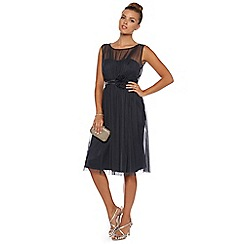 Debut - Steel grey chiffon overlay corsage dress