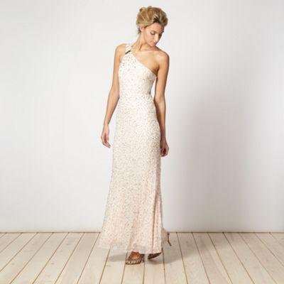 Pale pink embellished one shoulder maxi dress