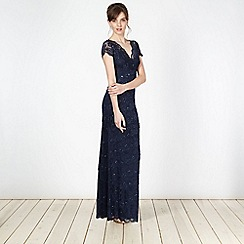 Debut - Dark blue lace pleated maxi occasion dress