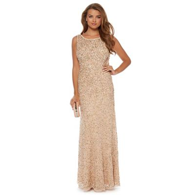 Pink sequin-encrusted maxi dress