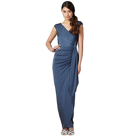 Debut - Blue ruched jersey maxi occasion dress