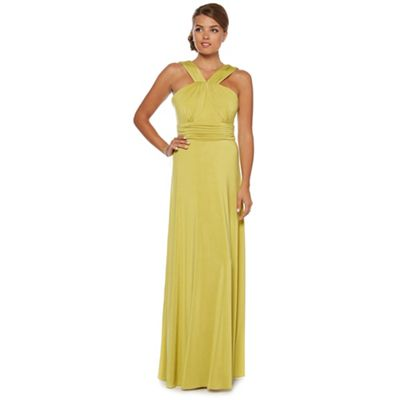 Lime cross strap jersey maxi dress