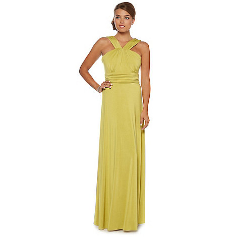 Debut - Lime cross strap jersey maxi occasion dress