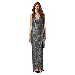 Debut - Black metallic drape side jersey maxi dress
