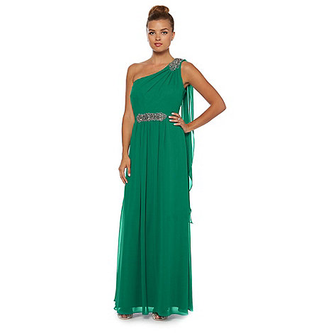 Debut - Green one-shoulder chiffon maxi dress