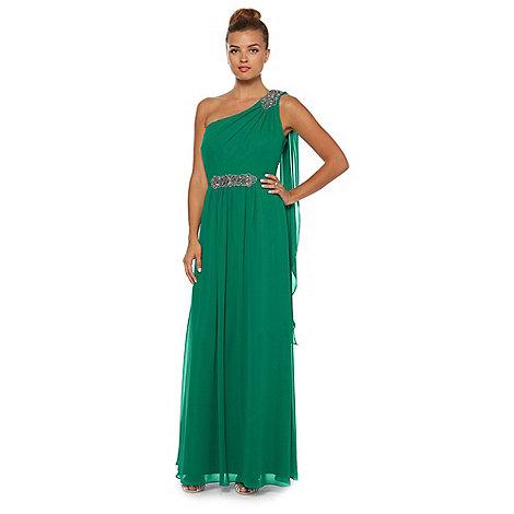 Debut - Green one-shoulder chiffon maxi dress