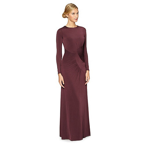 Debut - Plum ruched jersey maxi evening dress