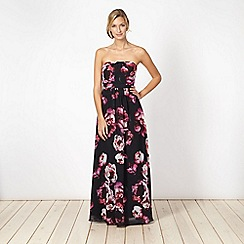Debut - Black floral print maxi occasion dress