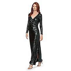 Debut - Bottle green long sleeve sequin maxi dress