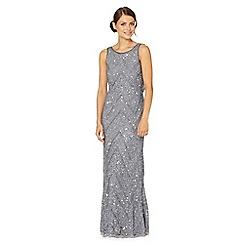 Debut - Grey beaded chevron maxi occasion dress