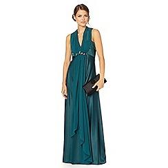 Debut - Dark green chiffon and satin embellished waist maxi dress