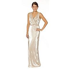 Debut - Gold metallic maxi occasion dress