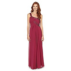 Debut - Dark pink one shoulder chiffon maxi dress