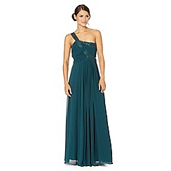 Debut - Dark green one shoulder chiffon maxi dress