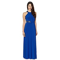 Debut - Bright blue embellished halter maxi dress