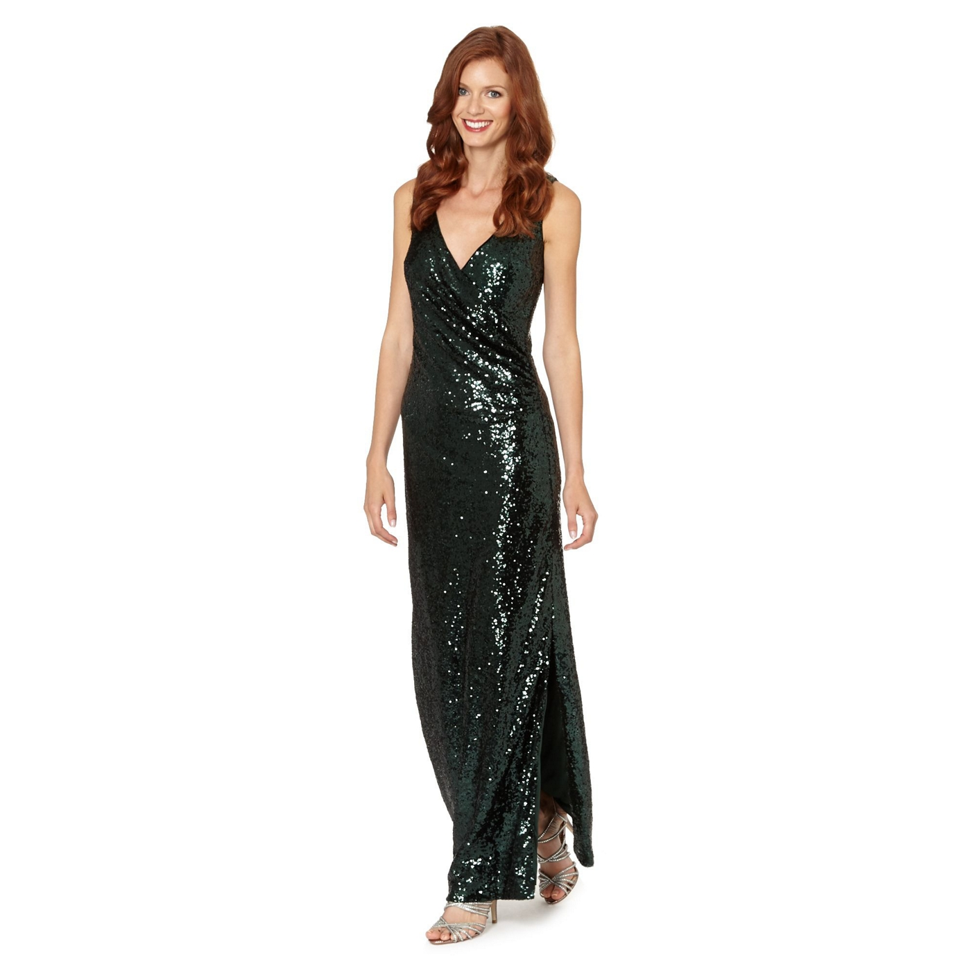 7f504b8fdb606 Debut Dark green sleeveless sequin maxi dress on PopScreen
