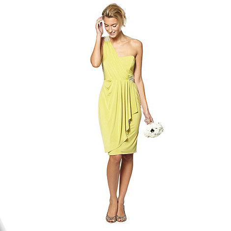 DEBUT - Lime one shoulder midi occasion dress