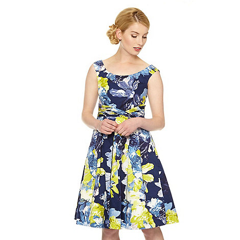 Debut - Dark blue bloom print prom occasion dress