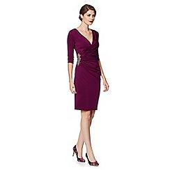Debut - Purple jersey wrap occasion dress