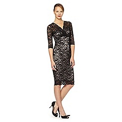 Debut - Black lace fitted midi evening dress