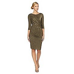 Debut - Gold metallic wrap occasion dress