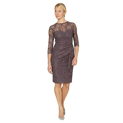 Debut - Dark mauve lace wrap shift dress