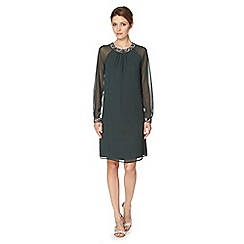 Debut - Dark green jewel trim tunic dress