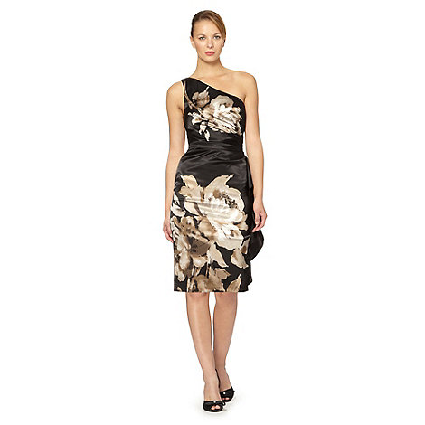 Debut - Black one shoulder floral satin dress