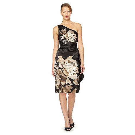 Debut - Black one shoulder floral satin dress