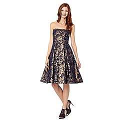 Debut - Dark blue jacquard floral bandeau evening prom dress