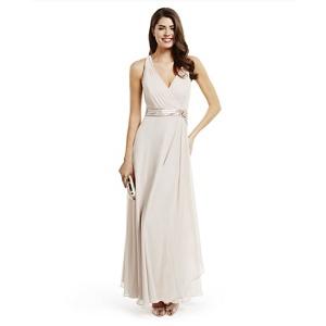 No. 1 Jenny Packham Rose Pink 'lily' Waterfall Evening Dress