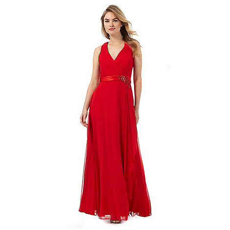 No 1 jenny packham bright red waterfall evening dress for Waterfall design dress