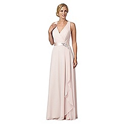 No. 1 Jenny Packham - Designer pale pink flower detail waterfall maxi dress