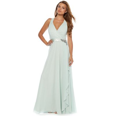 Designer light green applique flower waterfall maxi dress