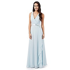 No. 1 Jenny Packham - Pale blue 'Lily' waterfall evening dress