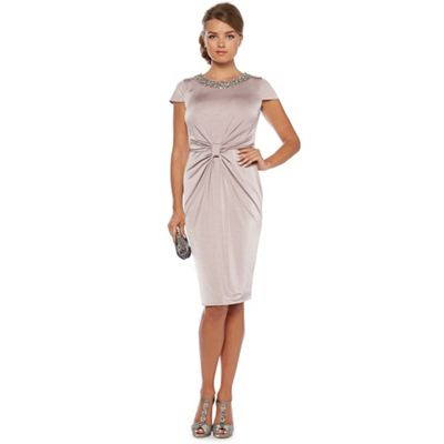 Pale taupe ruched knot dress