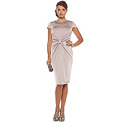 No. 1 Jenny Packham - Pale taupe ruched knot occasion dress