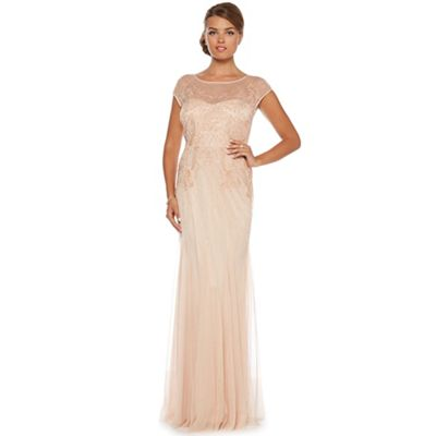Rose bead-embellished maxi dress
