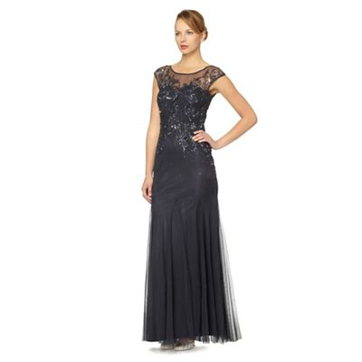 Navy embellished tulle maxi dress