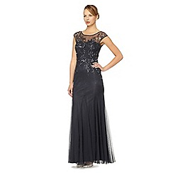 No. 1 Jenny Packham - Navy embellished tulle maxi evening dress